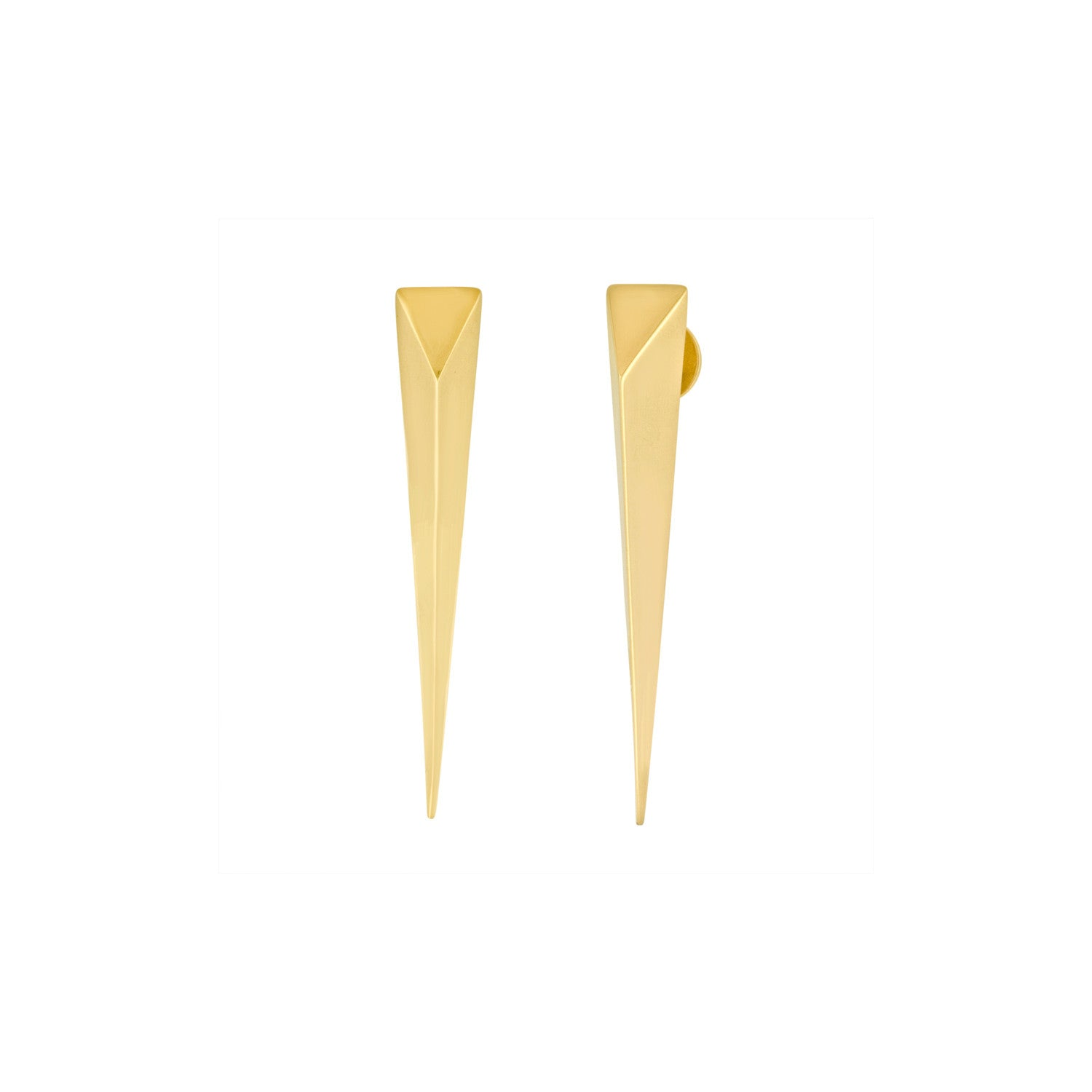 Gold Long Spike Earrings