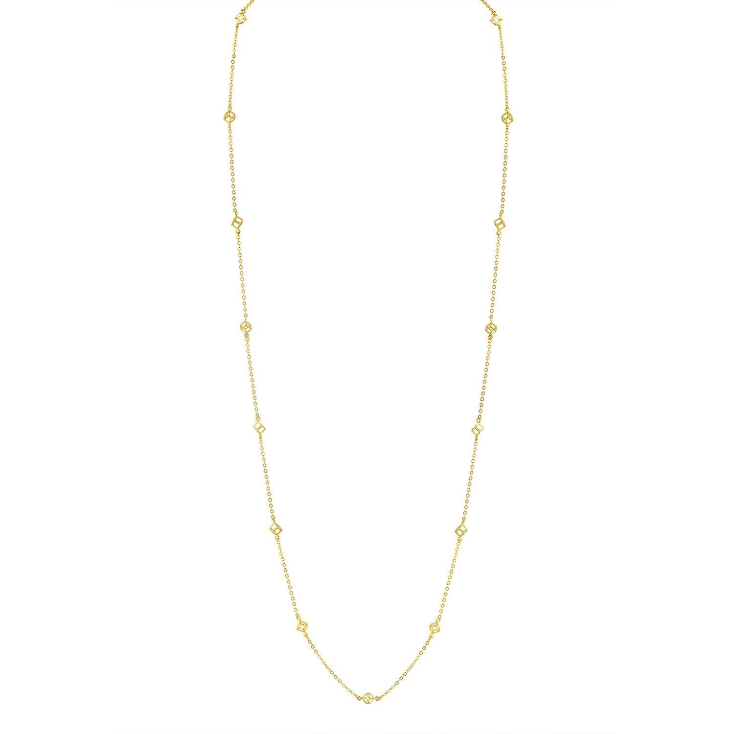 Gold Cube Station Necklace