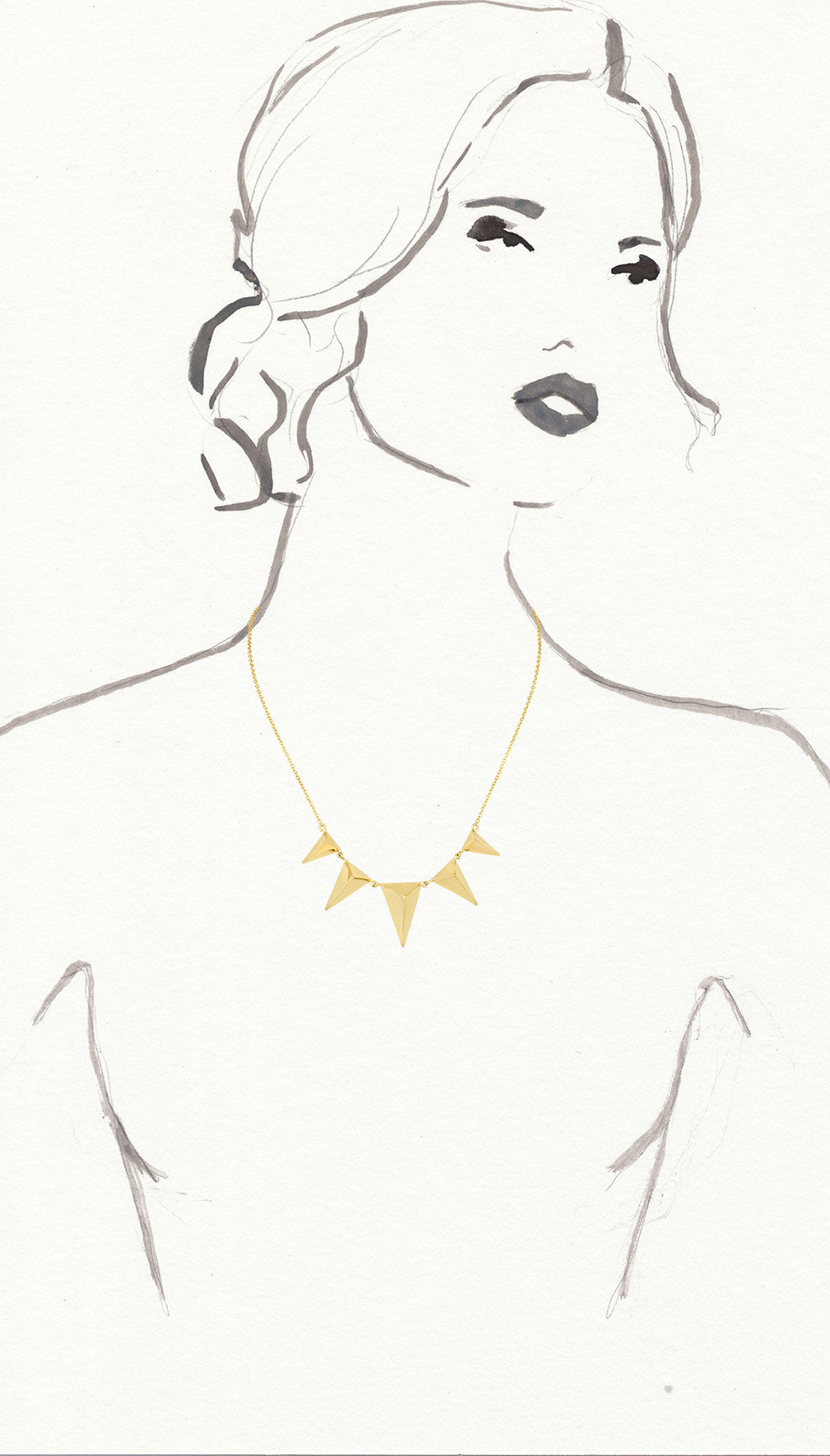 Gold Five Spike Necklace