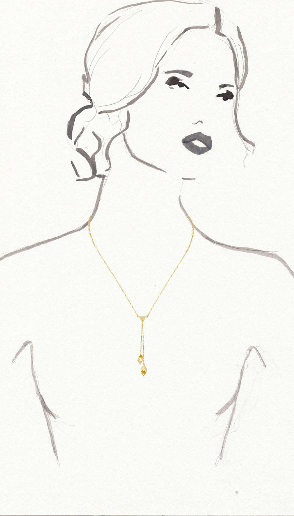 Gold Diamond Shape Lariat Necklace