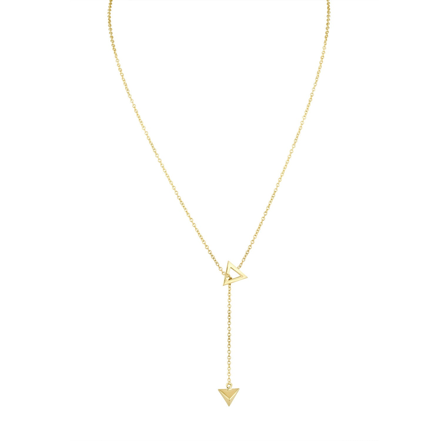 Gold Pyramid Lariat Necklace