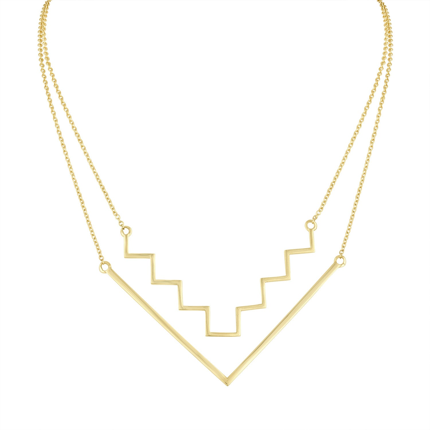 Gold Step and Triangle Necklace