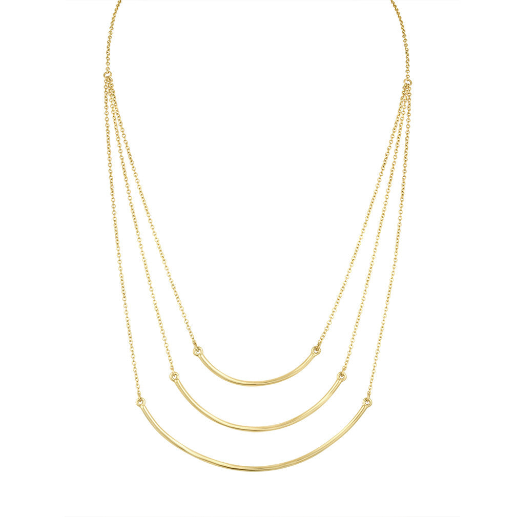 Gold Three Beam Cascade Necklace