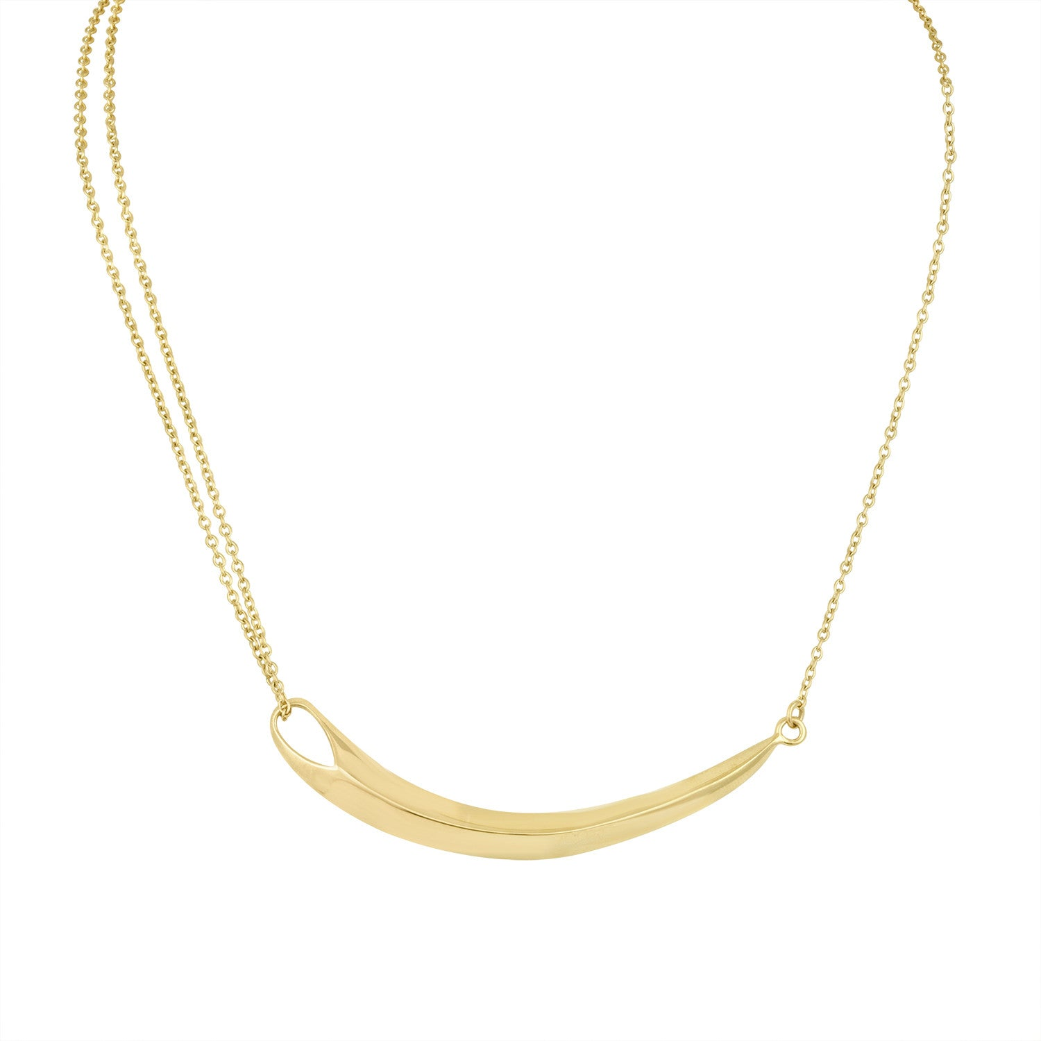 Gold Curved Beam and Double Chain Necklace