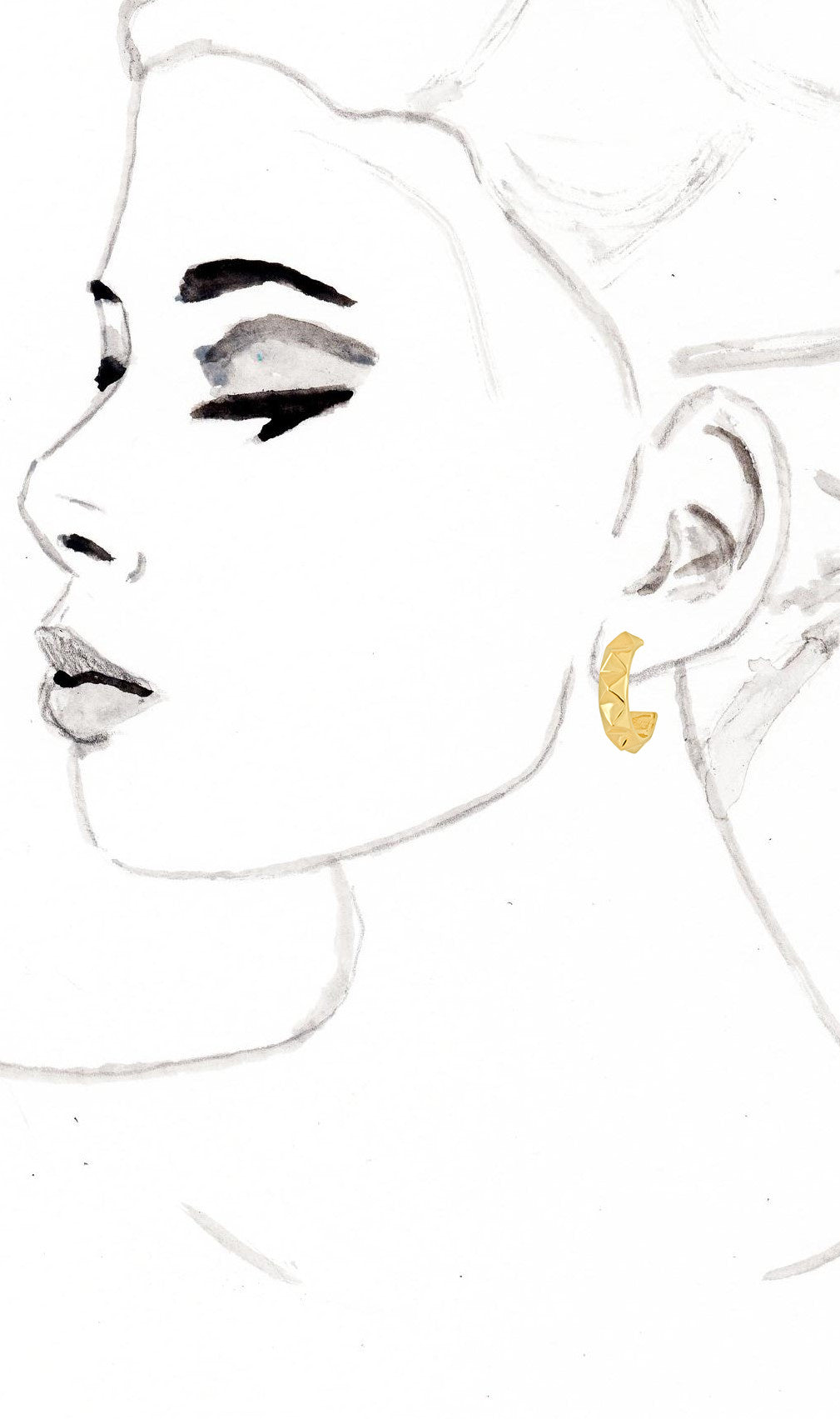 Gold Pyramid Hoop Earrings