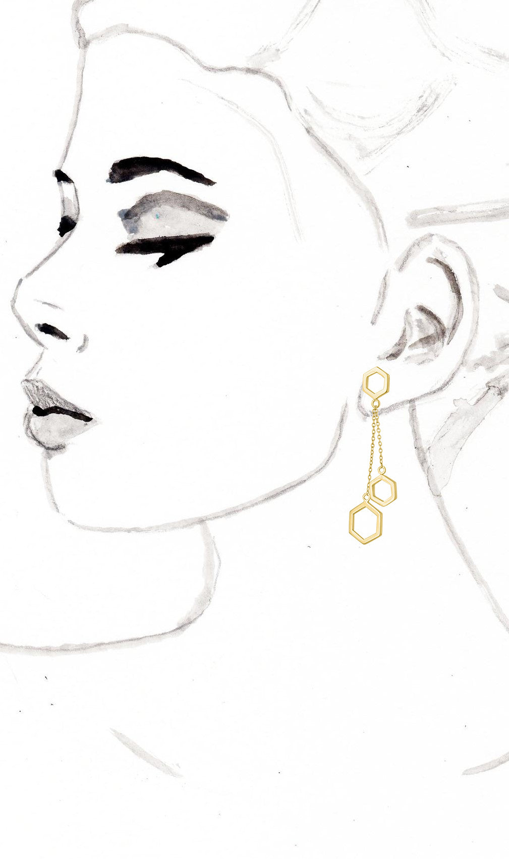 Gold Honeycomb Drop Earrings