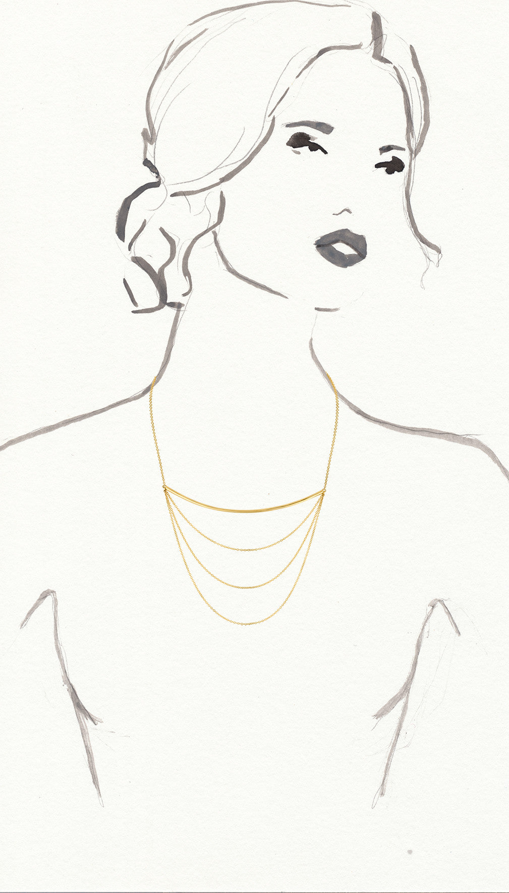 Gold Beam and Three Chain Necklace