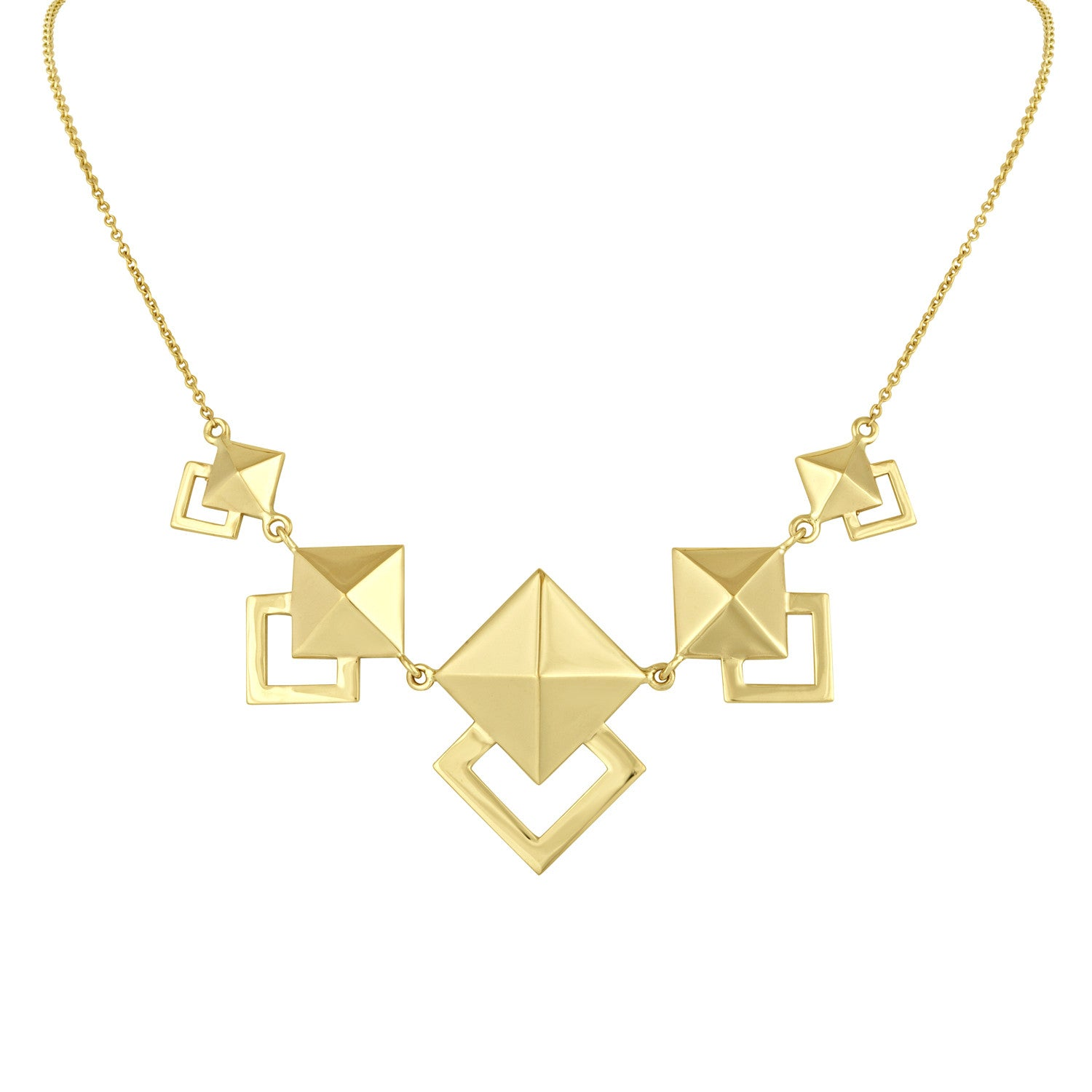Gold Geometric Pyramid Necklace