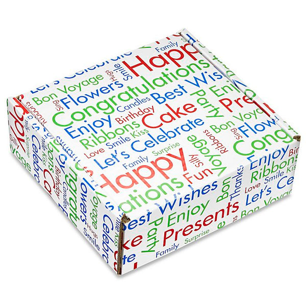 Gift Box with celebration greetings printed on it