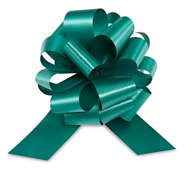 Cellophane Wrapped Container - Green Bow