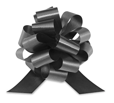 Cellophane Wrapped Container - Black Bow