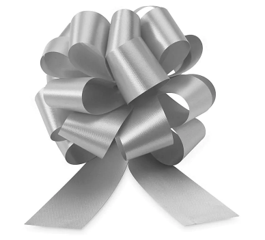 Cellophane Wrapped Container - Silver Bow