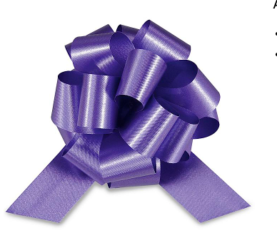 Cellophane Wrapped Container - Purple Bow