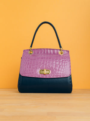 Jane Petite in Purple Croc and Dark Blue