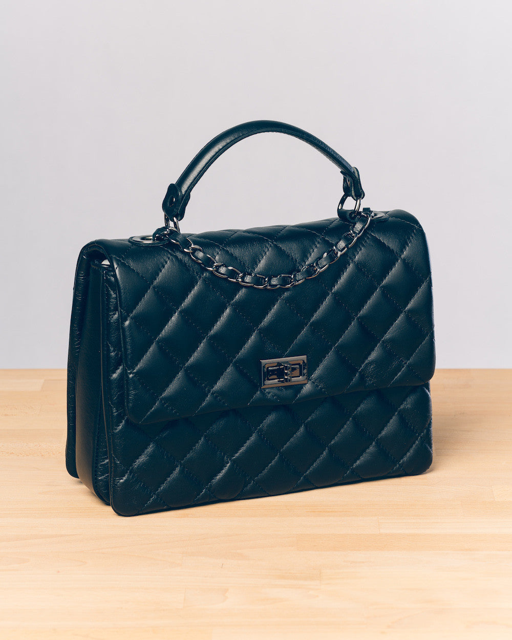Alsace Quilt Tote in Black