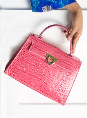 Bauletto Lux Kelly in Pink Croc