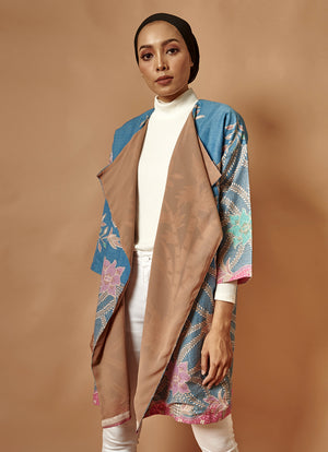 [PRE-ORDER] The Everyday Outer in Blue-Taupe Batik
