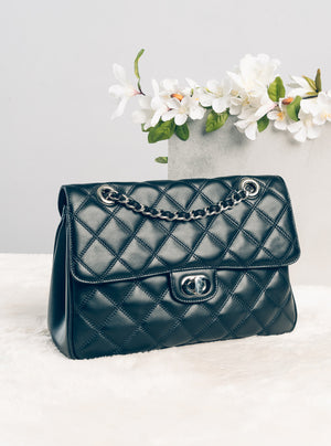 Luxury Quilted Flap in Black (SHW)