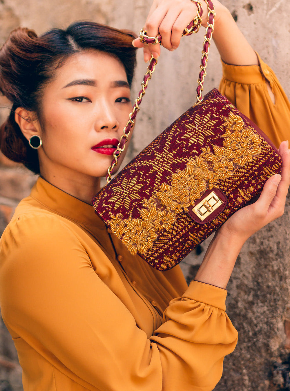 Songket Medley Exclusive in Maroon with Gold Lace + Beads