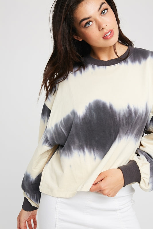 TIE DYE CROPPED CREW NECK TOP