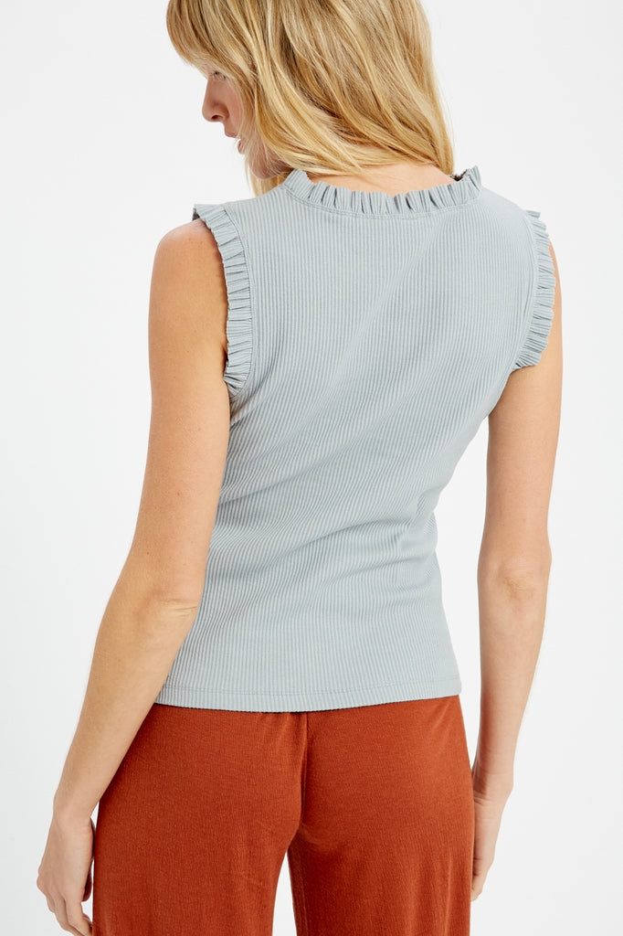 Sleeveless Ribbed Top w Ruffle Hem