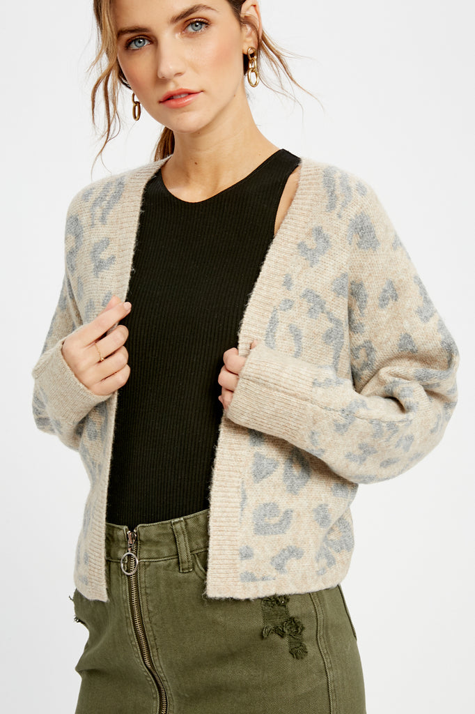 Washed Out Leopard Print Cardigan