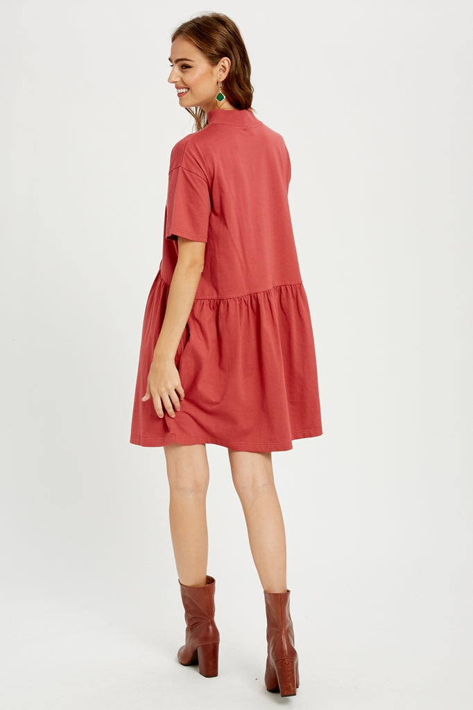 Mock Neck Peplum Dress w Pockets