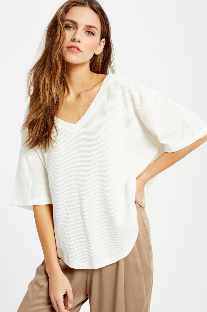 Ophelia Oversize Thermal V Neck Top