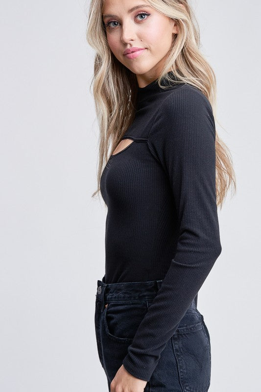 Brandy Long Sleeve Ribbed Bodysuit with Cut out