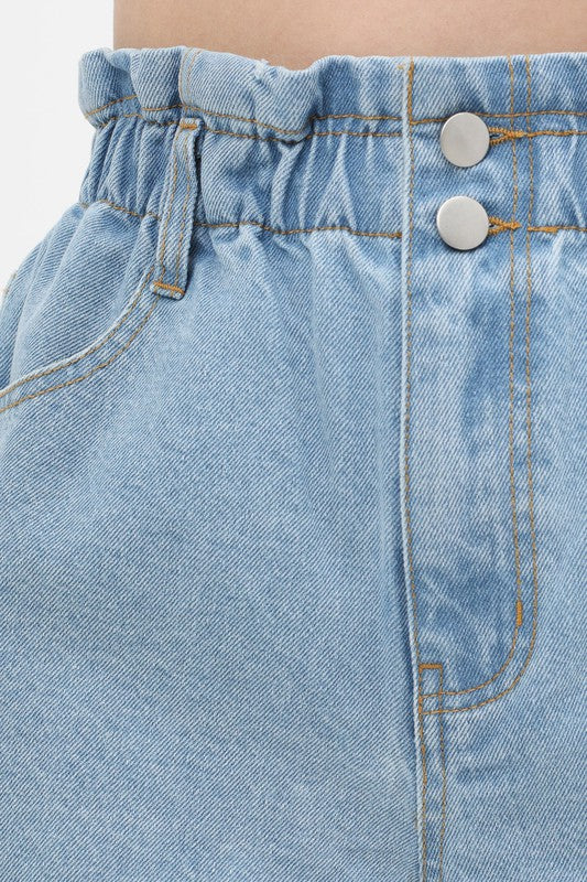 Cleo Denim Paperbag Waist Shorts