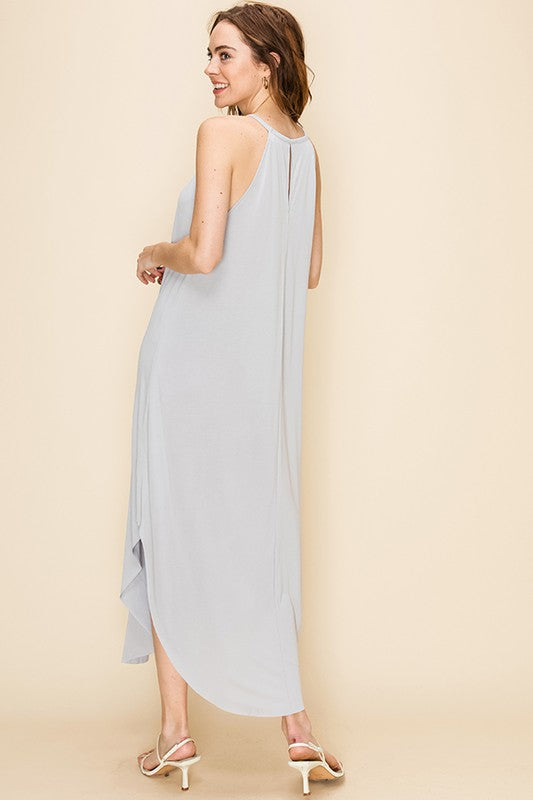 SCOOP BOTTOM SLEEVELESS DRESS WITH BACK KEYHOLE