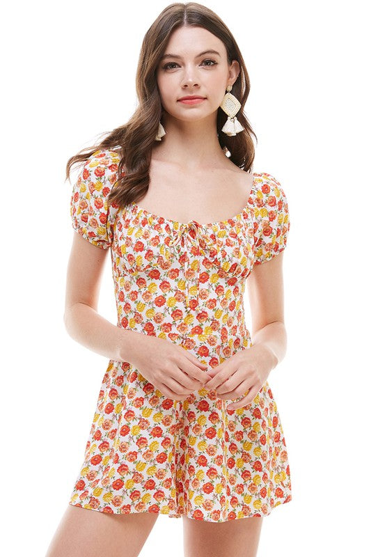 Ditsy Floral Button Detail SS Romper