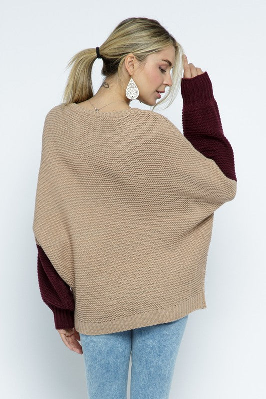 """Subtle in Color"" Color Block Sweater"