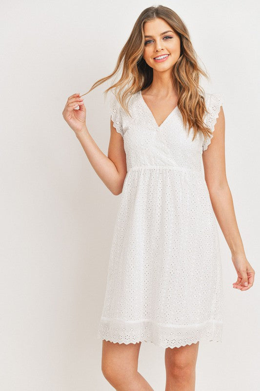 Eyelet Lace Ruffle Dress