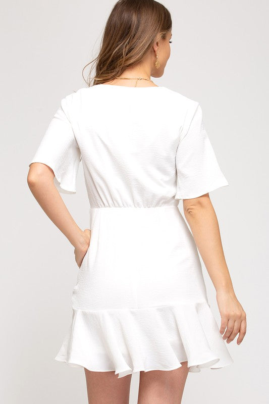 Loving You Surplice Mini Dress