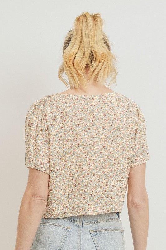 Floral Print Shirred Top