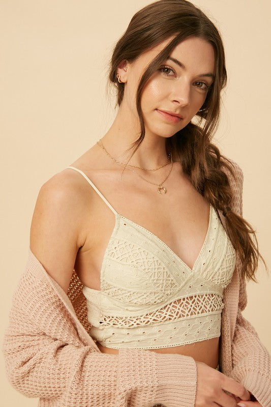 Emily Embroidered Cotton Eyelet Bralette
