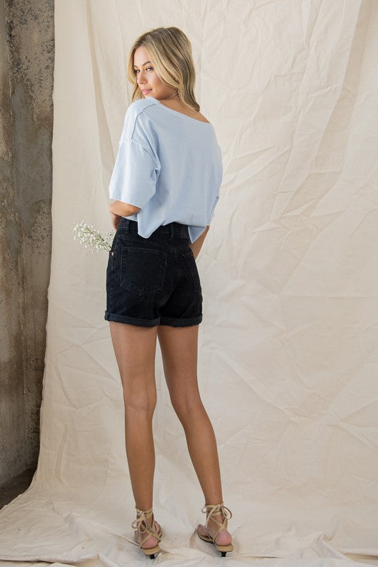 Eye On You Contrast Stitch Cropped Top