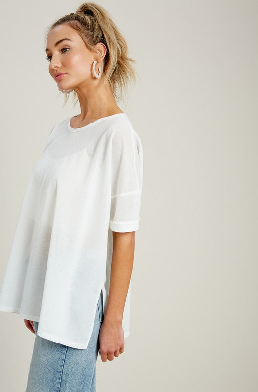 SHEER SCOOPNECK TOP