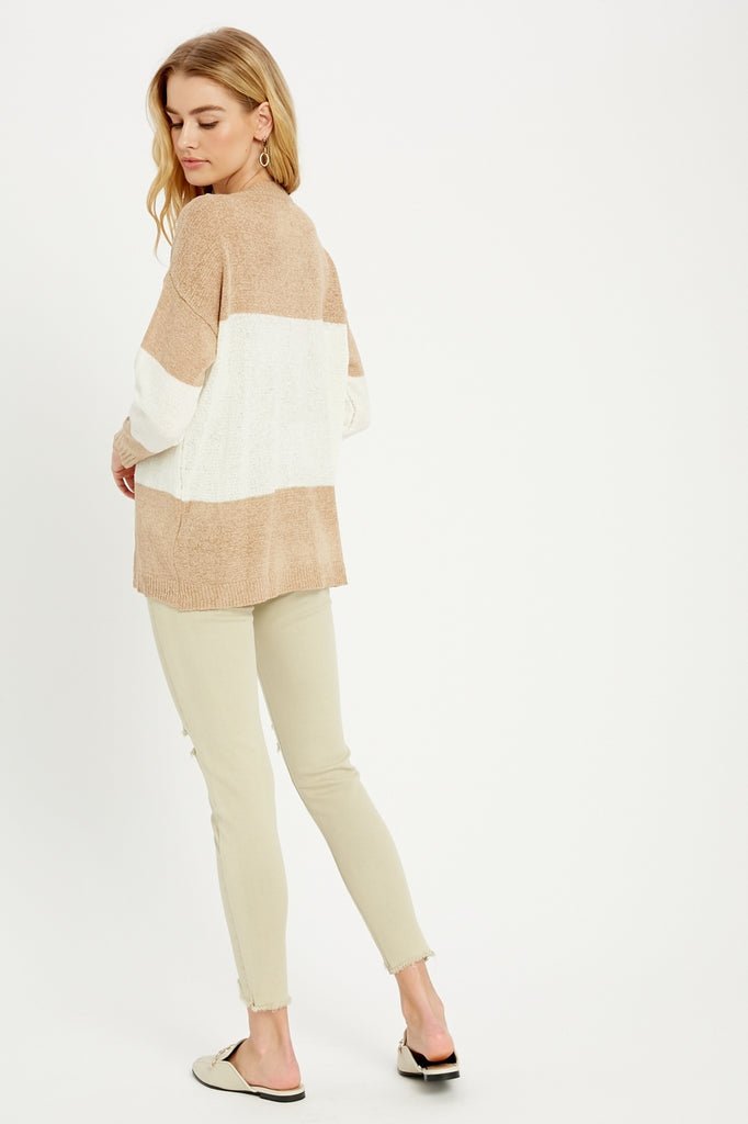 LS COLOR BLOCK KNIT TOP