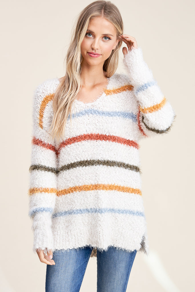WARM AND FUZZY STRIPE SWEATER