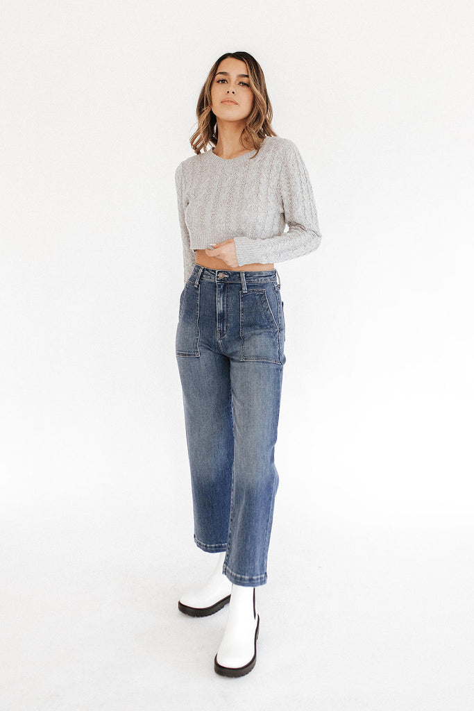 Wide Leg Patch Pocket Jeans