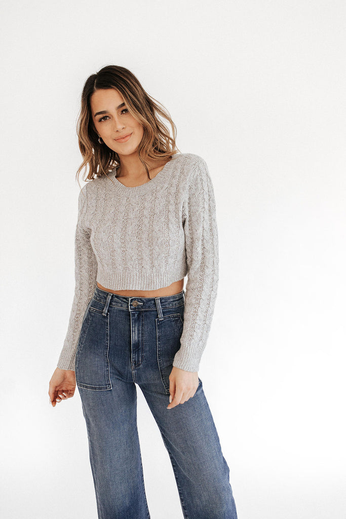 Quinn Cable Knit Cropped Pullover