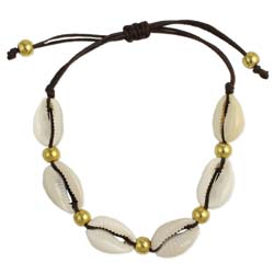 ab3300 Cowrie Shell gold pull anklet
