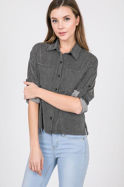 Knit Striped Button Down Long Sleeve