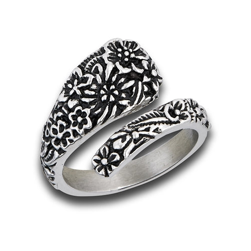 SPOON RING WITH FLOWERS STAINLESS