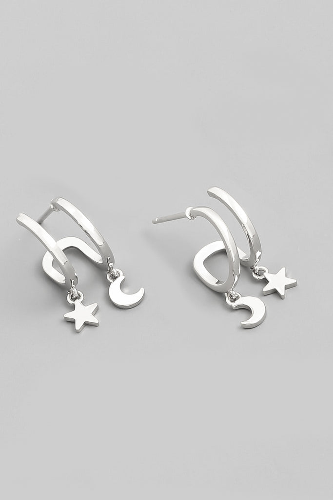 Double Star & Moon Huggie Earring