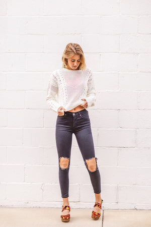 Free People High-Rise Busted Knee Skinny Jean