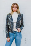 BLANK NYC Studded Embroidered Leather Jacket