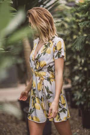 Lemons to Lemonade Print Wrap Dress